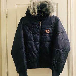 """Chicago Bears Hooded Coat Removable """"Fur"""" Accent"""